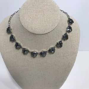 Stella dot silver and black crystal necklace